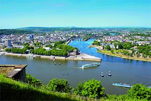 Panorama su Koblenz e la confluenza tra i fiumi Reno e Mosella (foto fatta da Ehrenbreitstein)