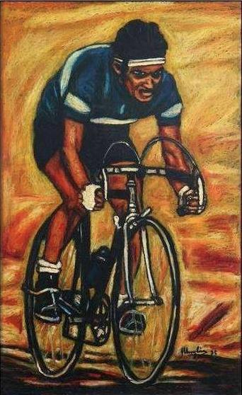 Giuseppe Muglia Il ciclista, 1995 Tecnica mista olio su tela, 97 x 61 cm