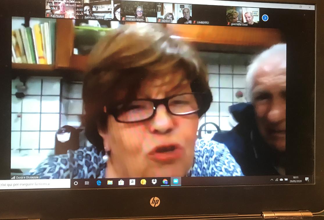 La vice presidente della Associazione Parkinson Sassari Dora Corveddu parla in una videoconferenza di malattia di Parkinson